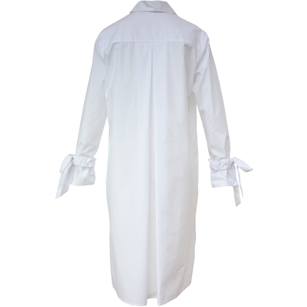 Tiffany Treloar Long Cotton Shirt Dress White Back