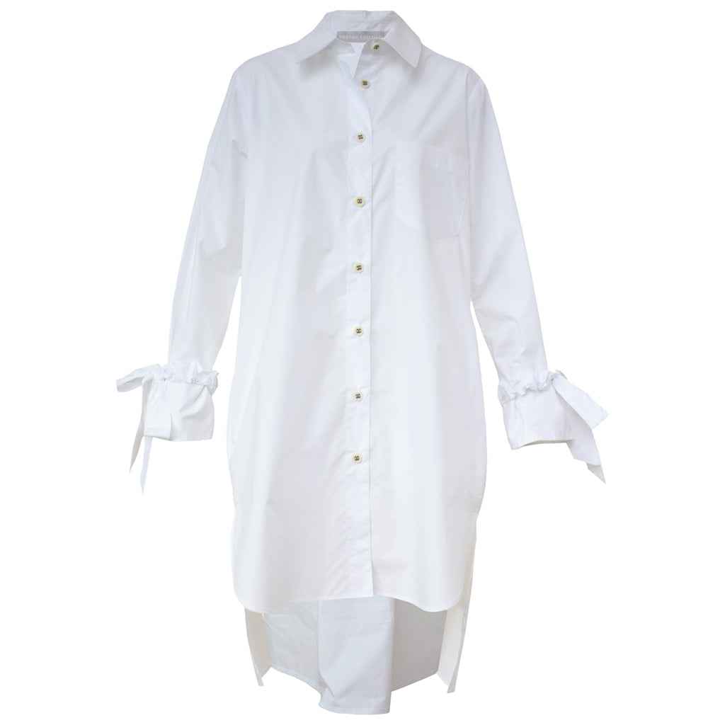 Tiffany Treloar Long Cotton Shirt Dress White Front
