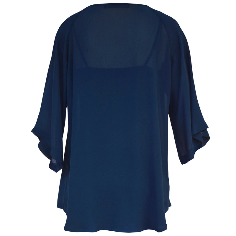 Tiffany Treloar Origami Neck Top Moody Blue Back