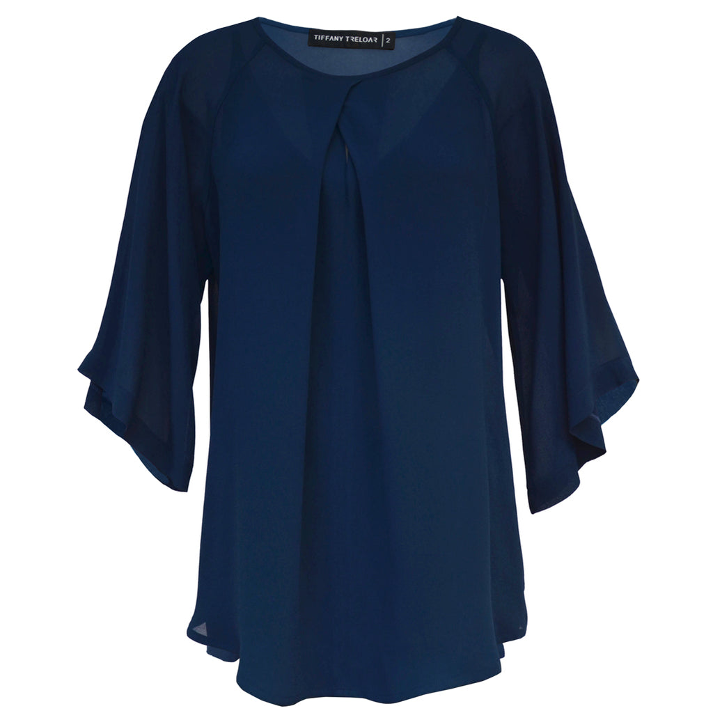 Tiffany Treloar Origami Neck Top Moody Blue Front