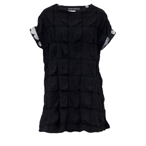Tiffany Treloar Cotton Seersucker Top Black Front