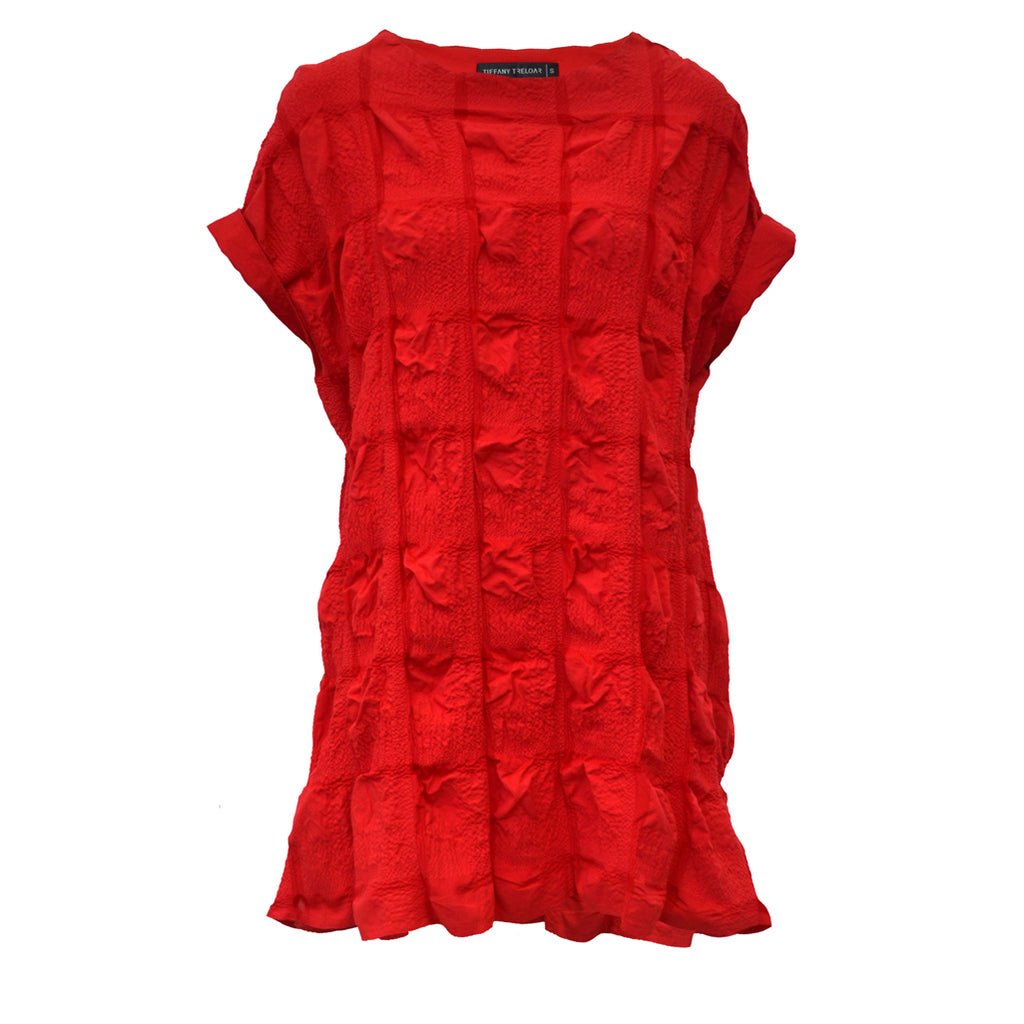 Tiffany Treloar Cotton Seersucker Top Red Front