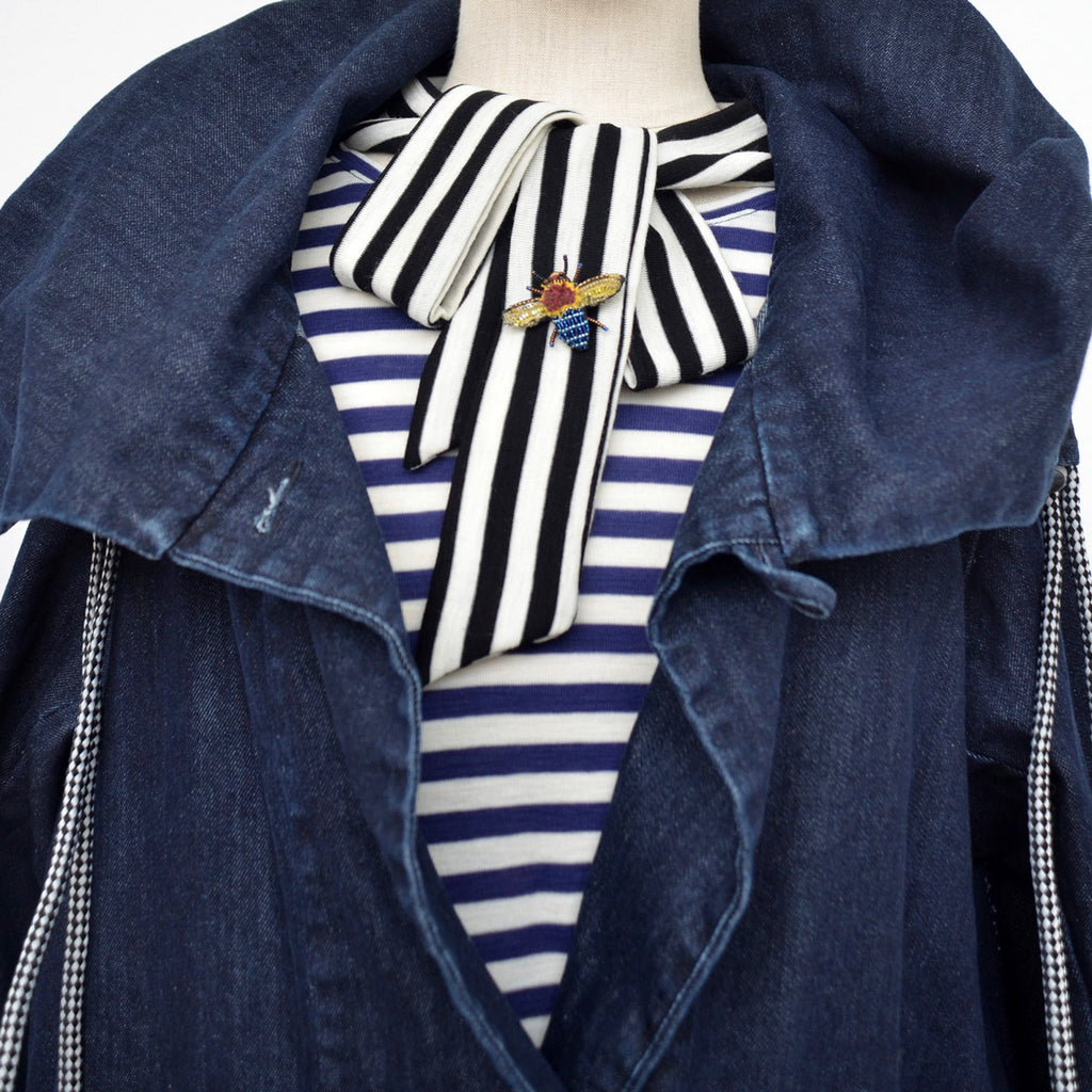 Black & Blue Striped Wool Top