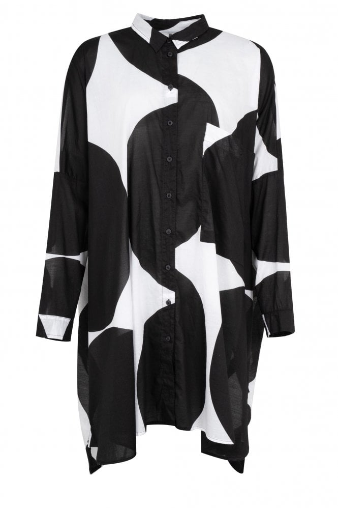 Rundholz Black/White Cotton Shirt Dress 3600907-102 front