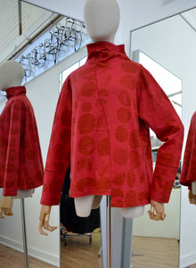 Moyuru Red Cotton Funnel Neck Tunic Circle Print Art Number 183013