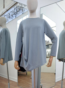Moyuru Grey Rayon Round Neck Top Art Number 183025