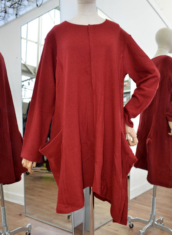 Moyuru Red Wool Tunic  Art Number 183300