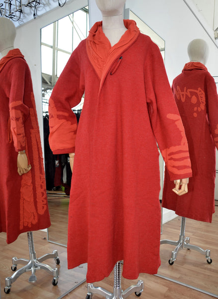 Moyuru Red/Orange Wool Coat Art Number 183303