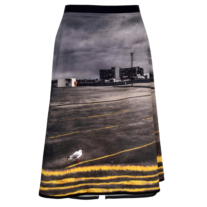 Tiffany Treloar Print Cotton Zipper Skirt Seagull Front