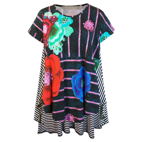 Print Cotton Swing Top with Cap Sleeve Asta