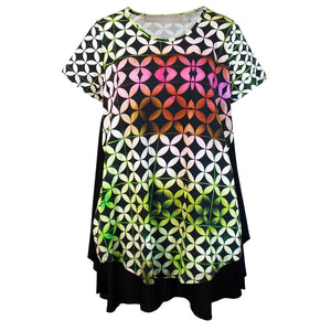 Tiffany Treloar Print Cotton SwingTop with Cap Sleeve Buzz Front