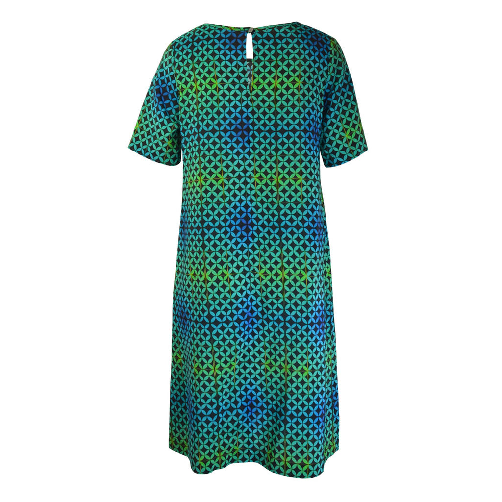 Tiffany Treloar Print Silk Shift Dress Arena Back