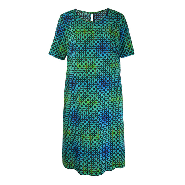 Tiffany Treloar Print Silk Shift Dress Arena Front