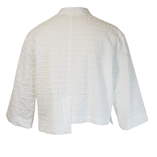 Tiffany Treloar Japanese Seersucker Crop Jacket White Back