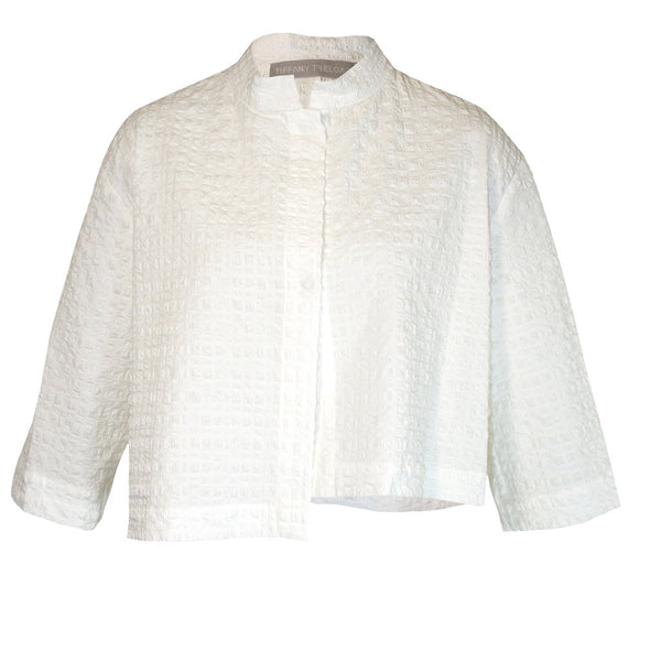 Tiffany Treloar Japanese Seersucker Crop Jacket White Front