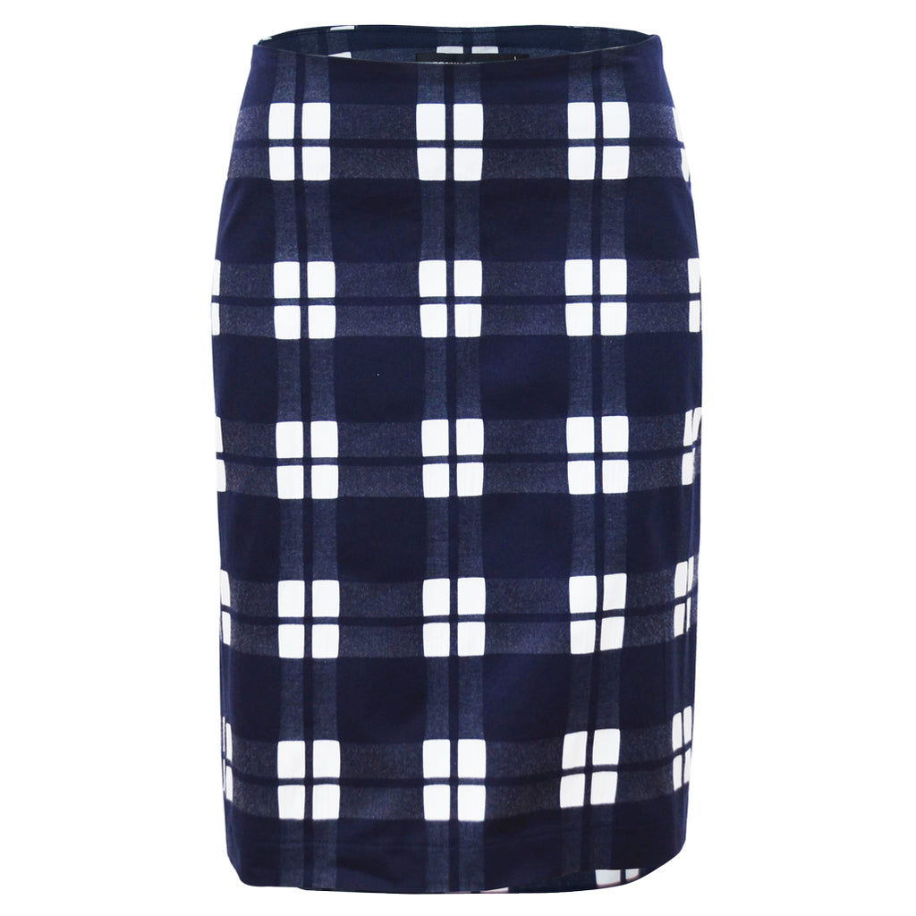 Tiffany Treloar, Cotton Skirt Navy Check - Tiffany Treloar