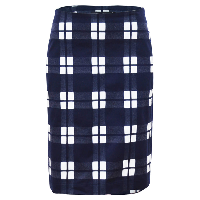 Tiffany Treloar Navy check cotton skirt Front