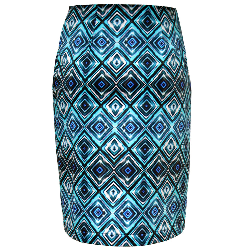 Tiffany Treloar Print Cotton Skirt Diamond Blue Back