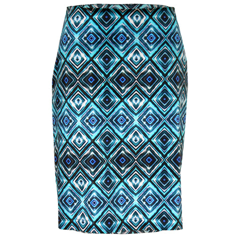 Tiffany Treloar Print Cotton Skirt Diamond Blue Front