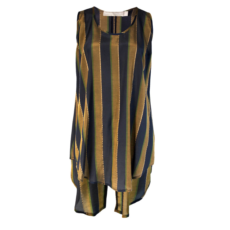 Tiffany Treloar Striped Tank Brass Navy Front