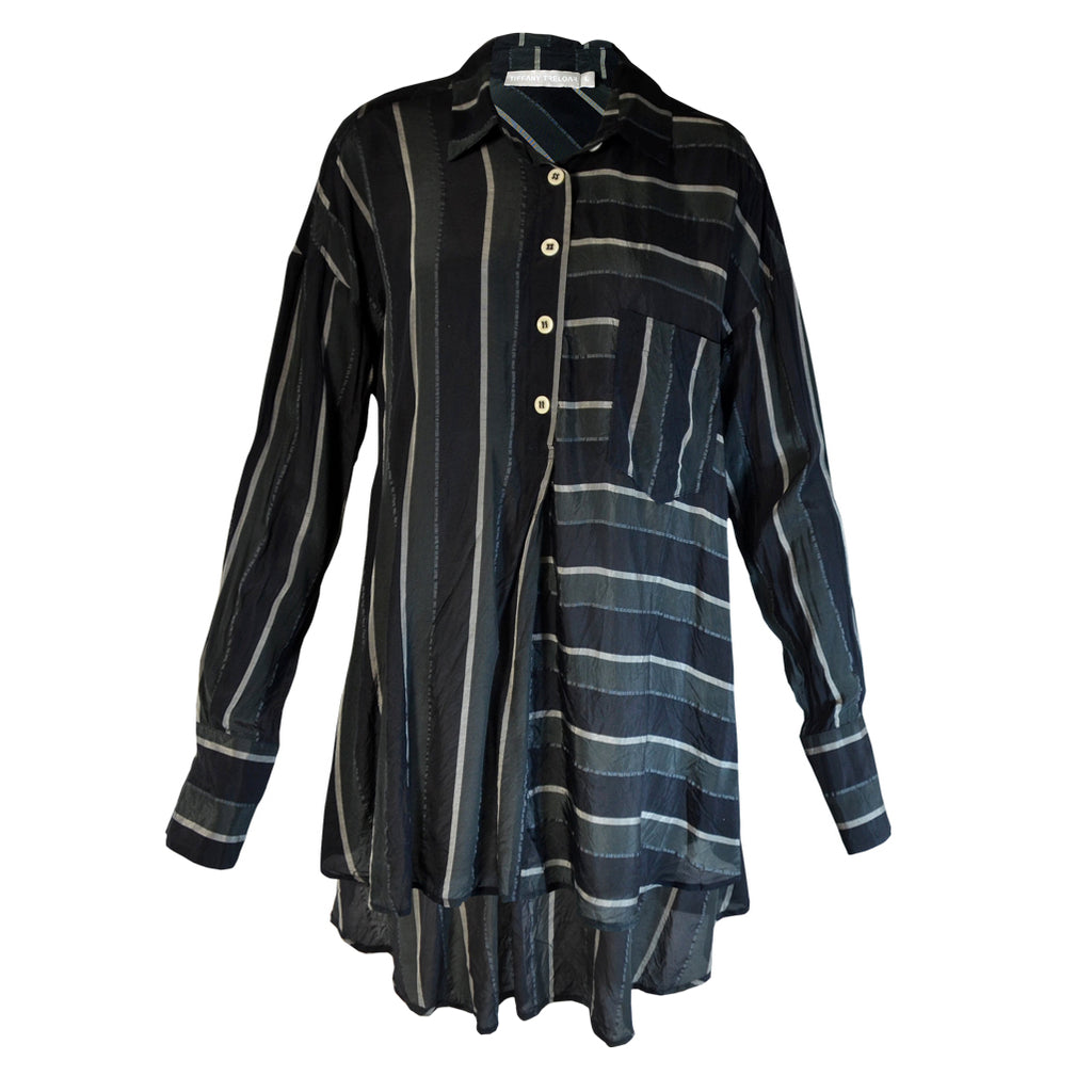 Tiffany Treloar Striped Shirt Silver Noir Front