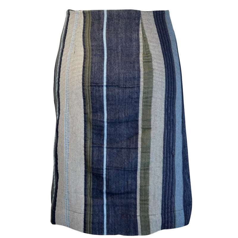 Tiffany Treloar Japanese Cotton Stripe Skirt Navy/Khaki Back