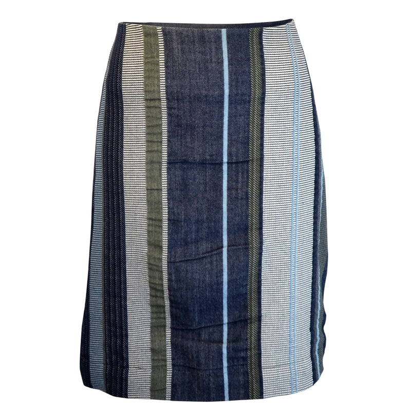 Tiffany Treloar Japanese Cotton Stripe Skirt Navy/Khaki Front
