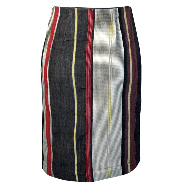 Tiffany Treloar Japanese Cotton Stripe Skirt Black/Red Back