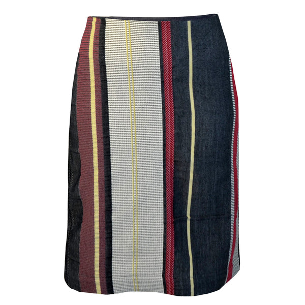Tiffany Treloar Japanese Cotton Stripe Skirt Black/Red Front
