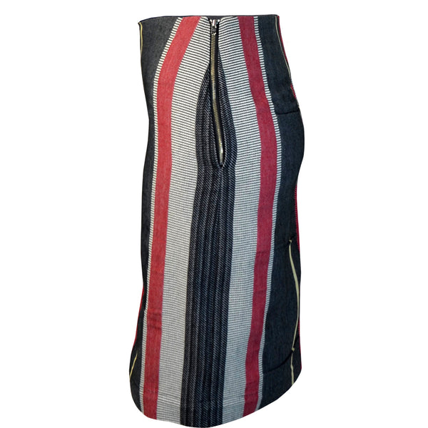Tiffany Treloar Japanese Cotton Stripe Skirt Black/Red Side