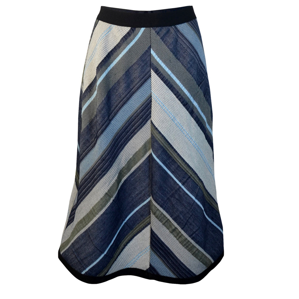 Tiffany Treloar Chevron Skirt Navy/Khaki Front