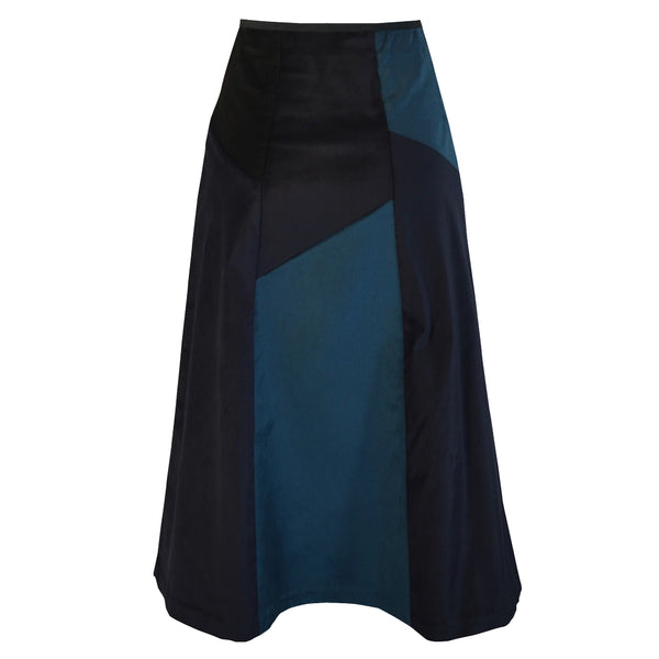 Tiffany Treloar Multi Panel A-line Velvet Skirt Petrol/Ink Back
