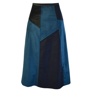 Tiffany Treloar Multi Panel A-line Velvet Skirt Petrol/Ink Front