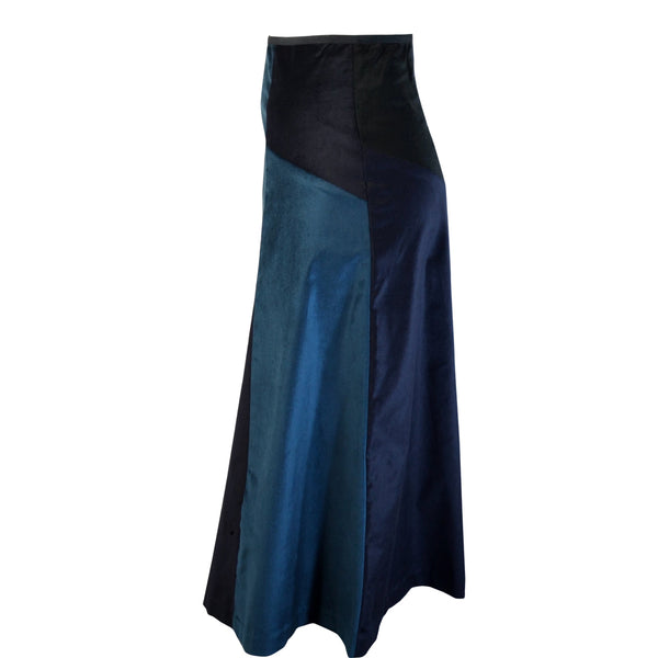 Tiffany Treloar Multi Panel A-line Velvet Skirt Petrol/Ink Side