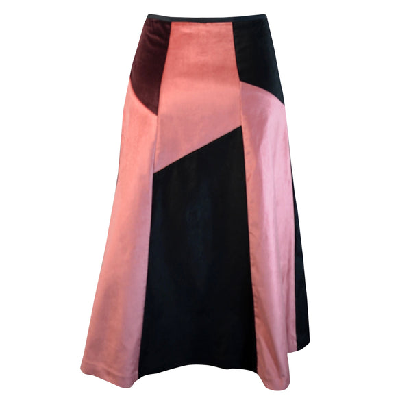 Tiffany Treloar Multi Panel A-line Velvet Skirt Blush/Black Back