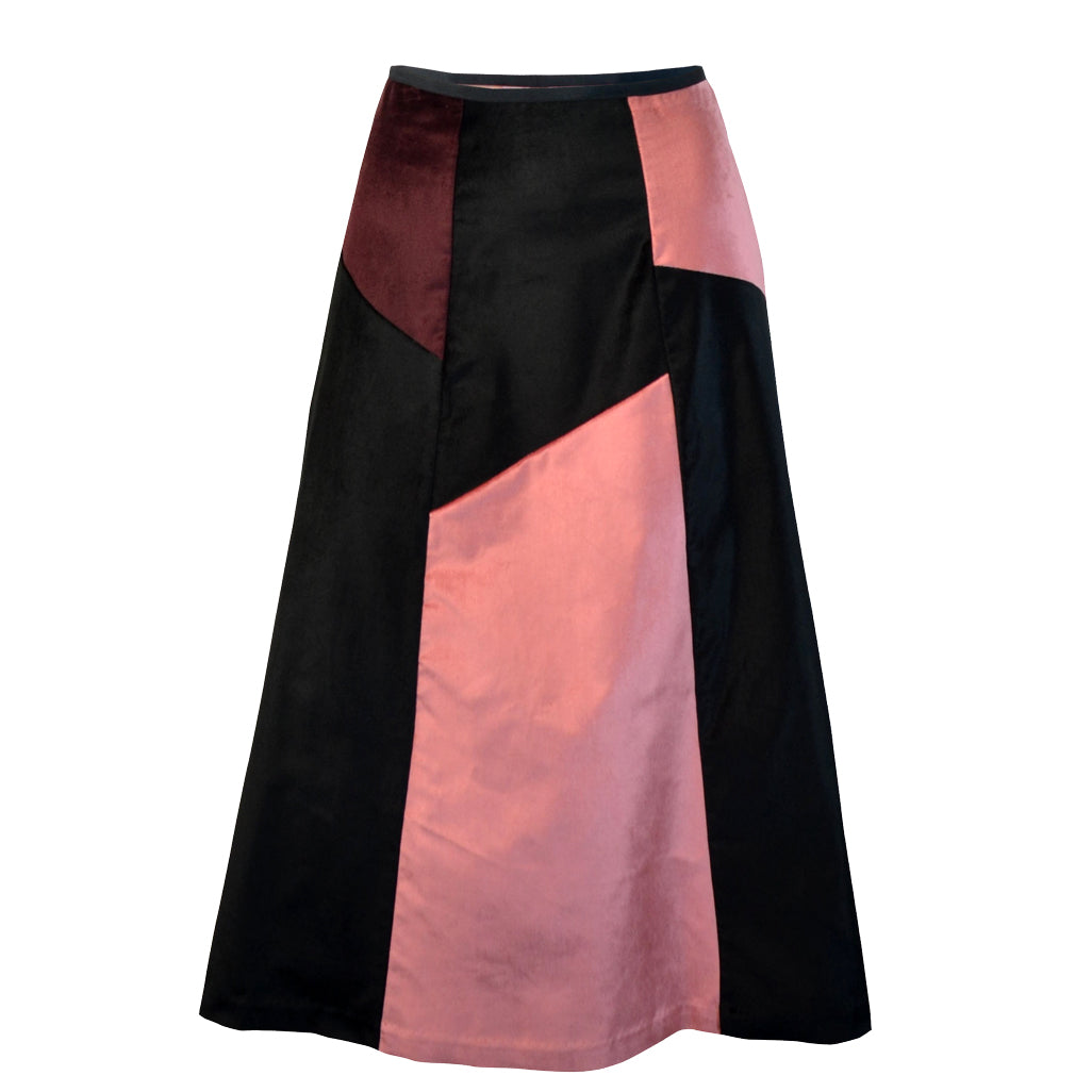 Tiffany Treloar Multi Panel A-line Velvet Skirt Blush/Black Front