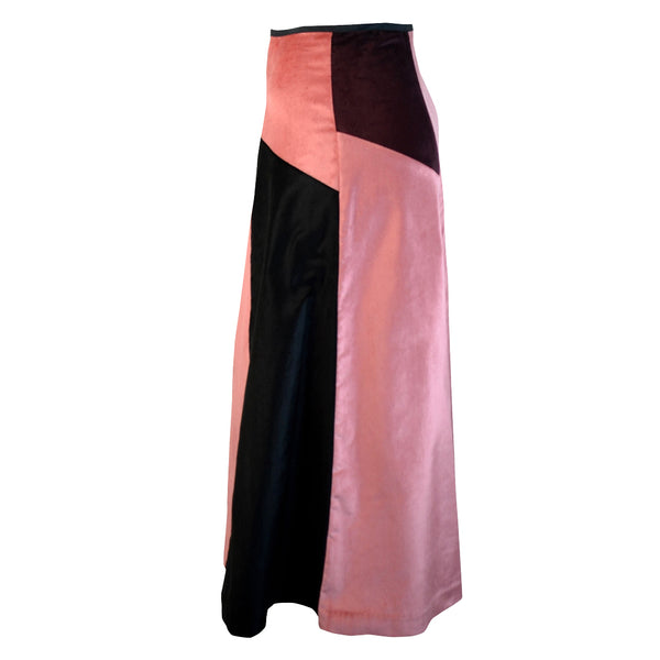 Tiffany Treloar Multi Panel A-line Velvet Skirt Blush/Black Side