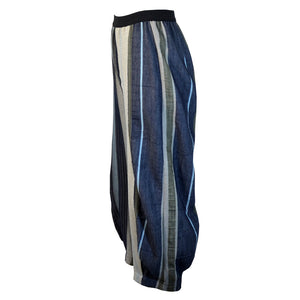 Tiffany Treloar Japanese Cotton Stripe Pant Navy/Khaki Side