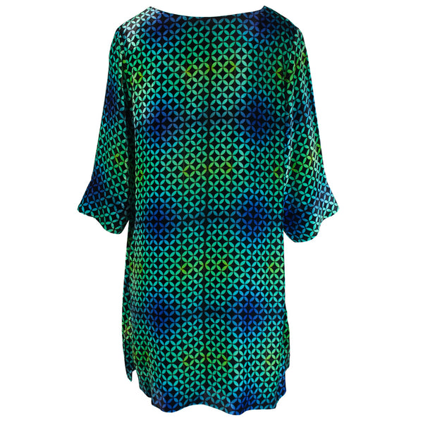 Tiffany Treloar Print Silk Velvet Tunic/Dress Arena Back