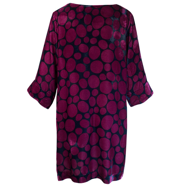 Tiffany Treloar Print Silk Velvet Tunic/Dress Pebble Back