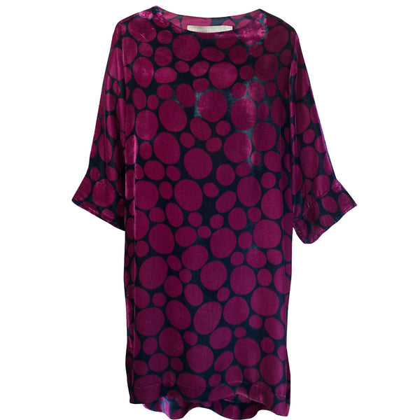 Tiffany Treloar Print Silk Velvet Tunic/Dress Pebble Front