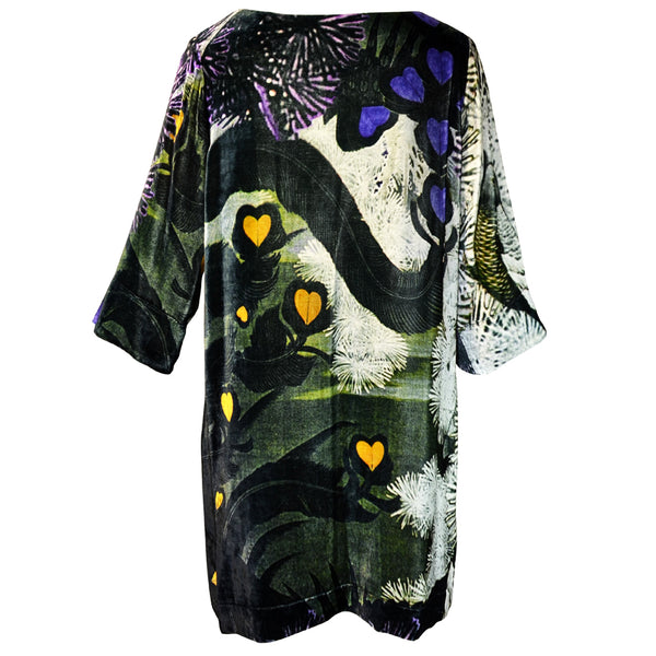 Tiffany Treloar Print Silk Velvet Tunic/Dress Lovebird Back