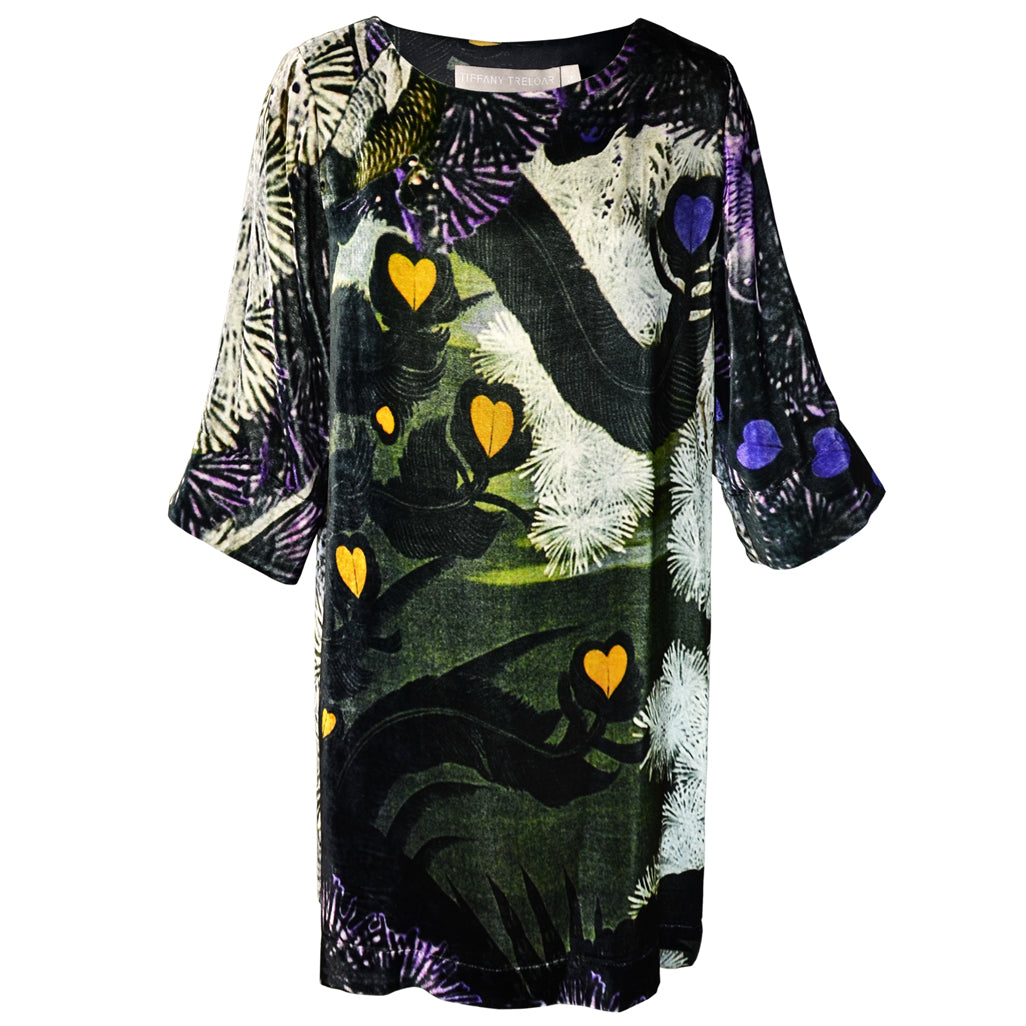 Tiffany Treloar Print Silk Velvet Tunic/Dress Lovebird Front