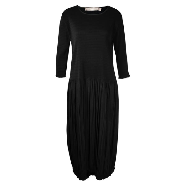 Tiffany Treloar Fleur Pleat Dress with 3/4 Sleeve Black Front