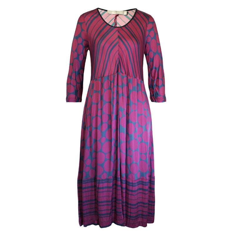 Tiffany Treloar Print Viscose Paris Dress Pebble Front