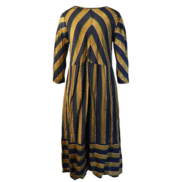 Tiffany Treloar Stripe Cupro Paris Dress Brass Navy Back