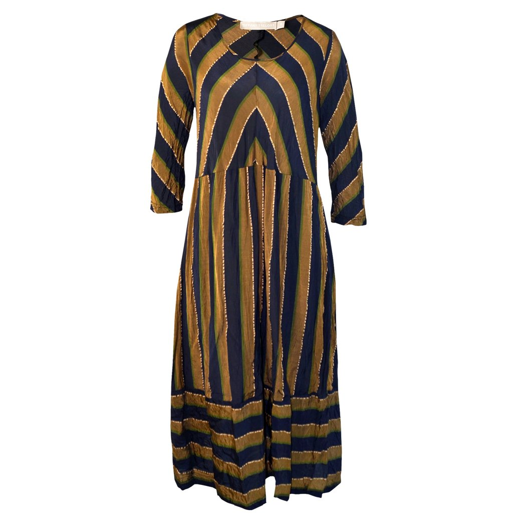 Tiffany Treloar Stripe Cupro Paris Dress Brass Navy Front