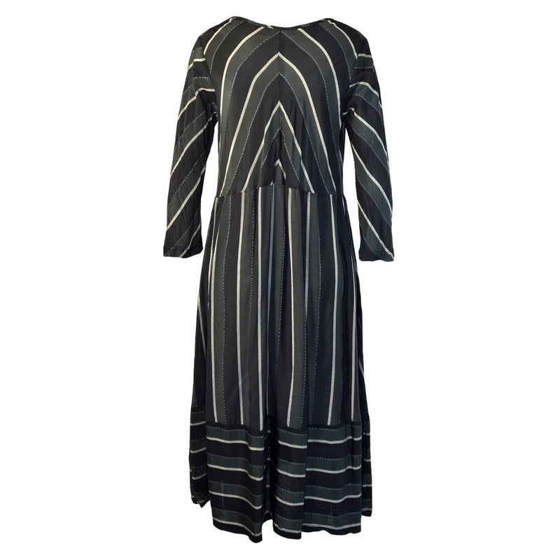 Tiffany Treloar Stripe Cupro Paris Dress Silver Noir Back