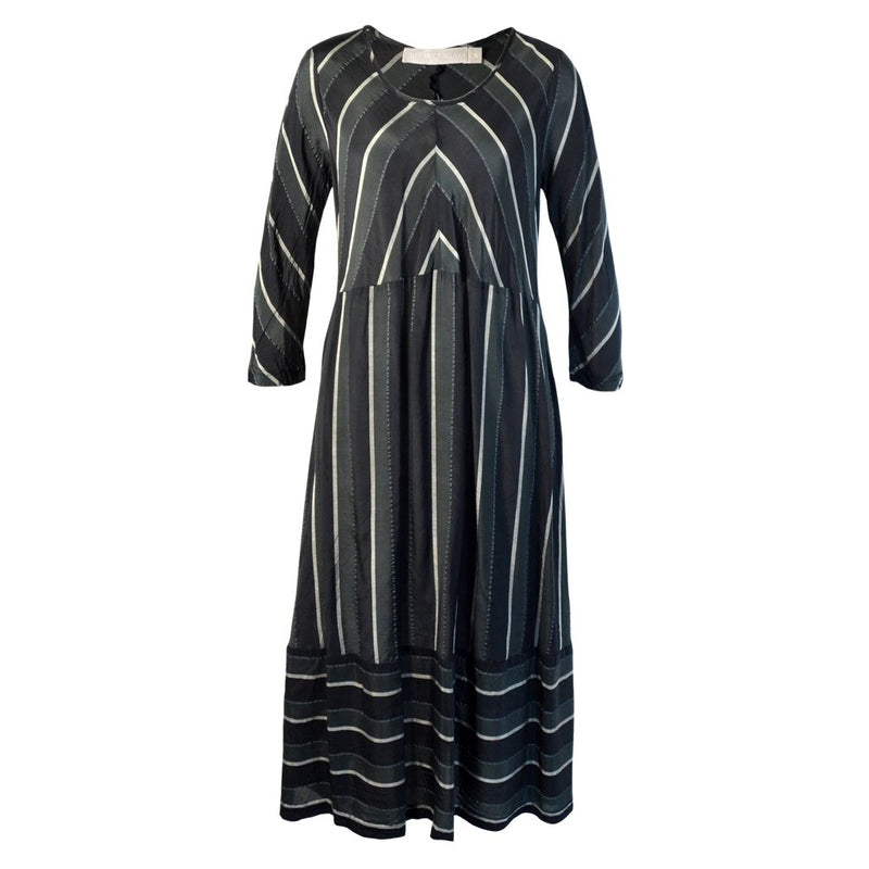 Tiffany Treloar Stripe Cupro Paris Dress Silver Noir Front