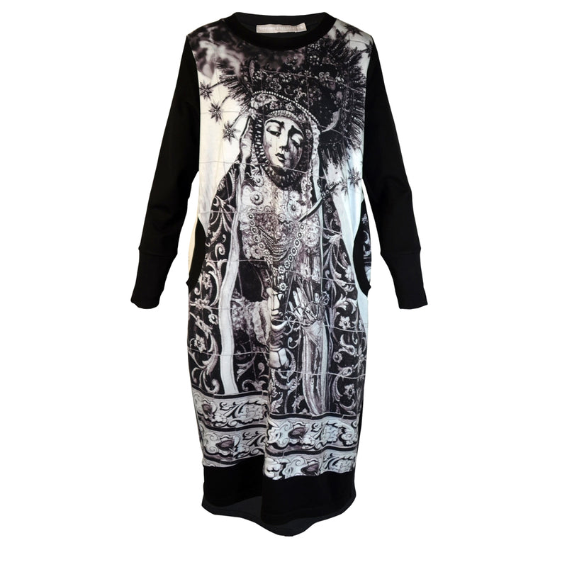 Tiffany Treloar Print Sweater Dress Our Lady of the Coffee Pot Black and White Front